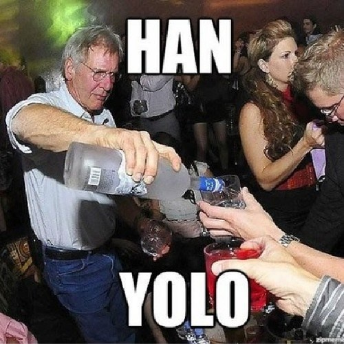 Han Solo Harrison Ford yolo vodka