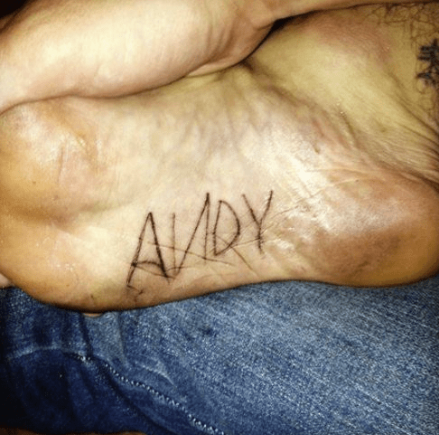 toy story tattoos andy foot - 7984897536