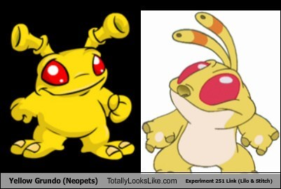experiment 251 link,neopets,totally looks like,yellow grundo,lilo & stitch