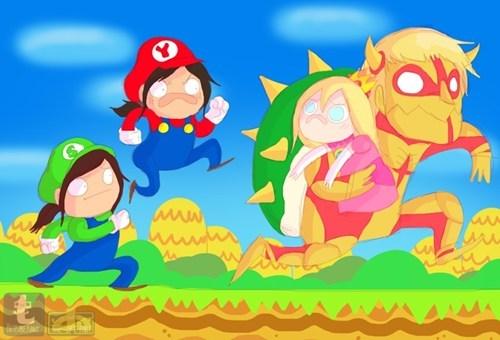 crossover anime Fan Art attack on titan video games Super Mario bros - 7985225728