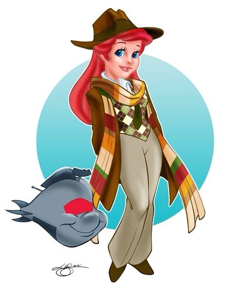 crossover,ariel,doctor who,disney,Fan Art