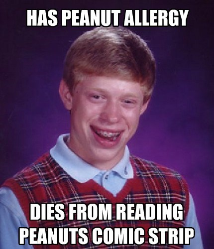 bad luck brian,peanuts,Memes