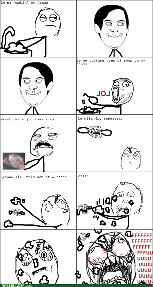 flies lol hand washing sweet jesus trollface rage - 7988843008