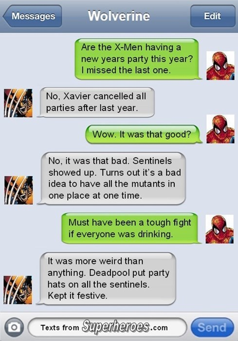 deadpool,texts,Spider-Man,wolverine