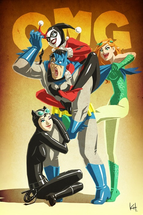 batman catwoman Fan Art Harley Quinn poison ivy - 7989343744