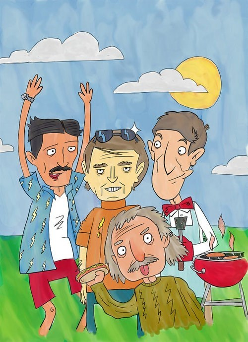 bill nye carl sagan art Nikola Tesla science albert einstein funny - 7990288128