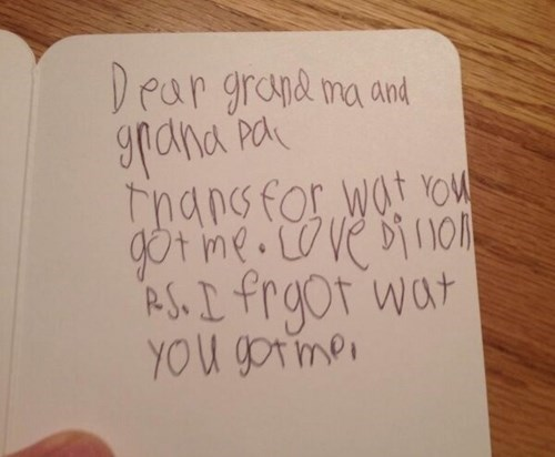 kids,thank you notes,grandparents,parenting,presents,g rated