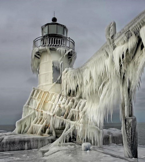 lighthouse frozen photography winter