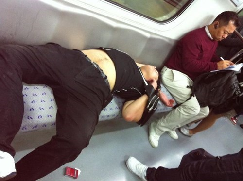 comfortable,funny,trains,passed out