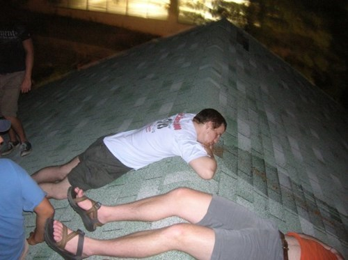 funny,passed out,sick,roof
