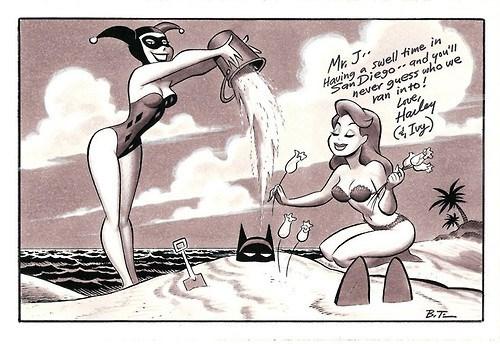 batman,Harley Quinn,postcard,poison ivy