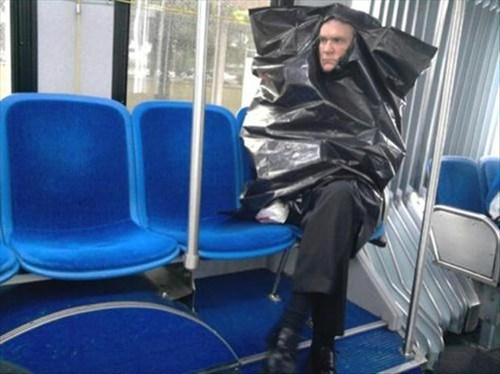 wtf,public transportation,trash bags