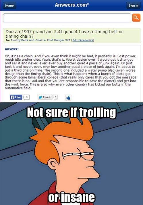 not sure if fry meme trolling answers.com dafuq Memes