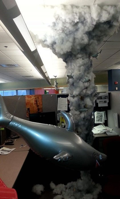 sharknado,office pranks,sharks,cubicle pranks