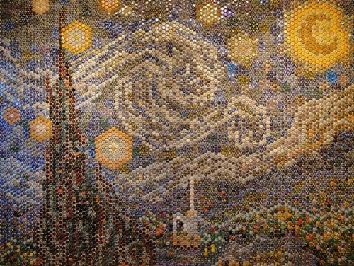 art,beer,bottle caps,funny,starry night