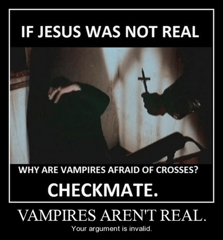 make believe,funny,jesus,vampires