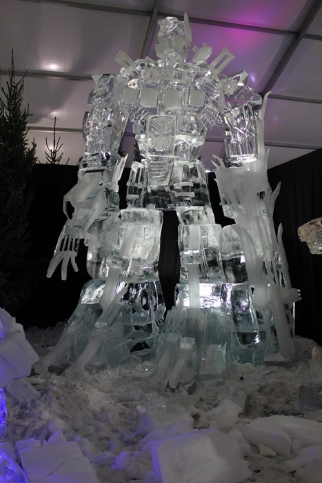 carving ice nerdgasm optimus prime sculpture transformers