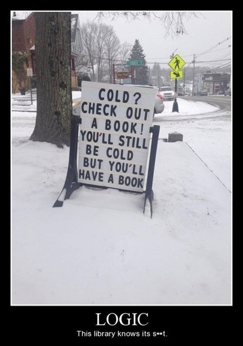 cold books library logic funny - 7995609600