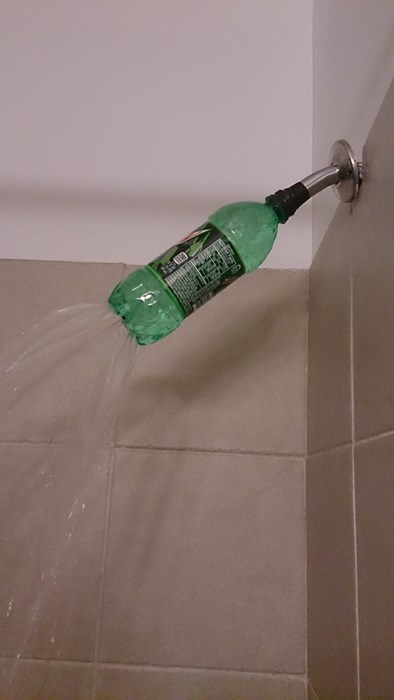 mountain dew,soda bottles,showers,tape,there I fixed it