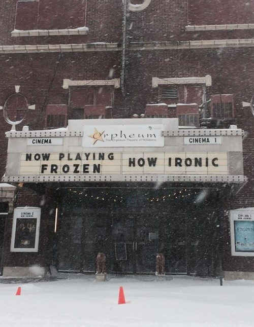 sign theater frozen irony