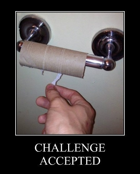 Challenge Accepted toilet paper funny