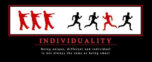 individuality run smart fast zombie funny