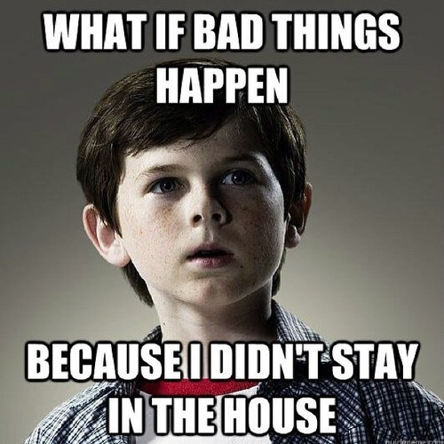 stay in the house,carl grimes,realization