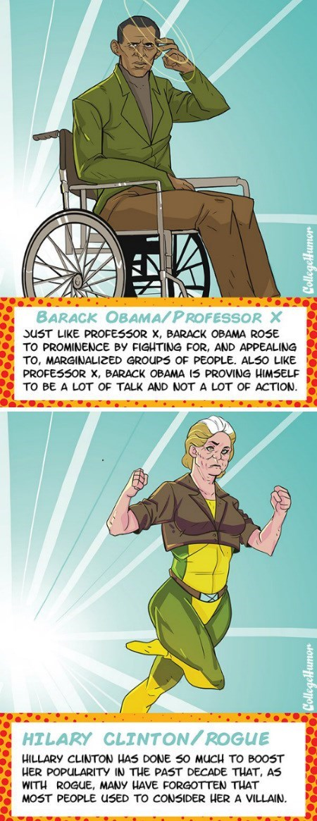 college humor x men barack obama Hillary Clinton politics - 7997688320
