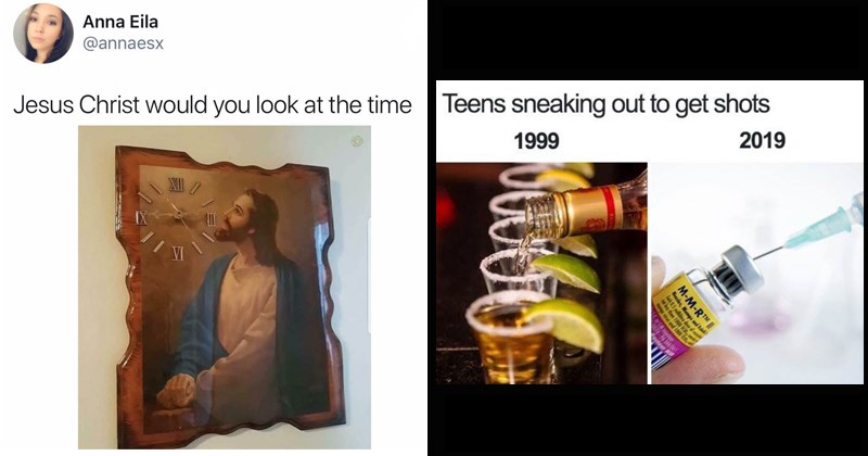 funny memes, random memes, clock with a picture of jesus