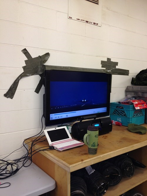 duct tape,monitors,there I fixed it