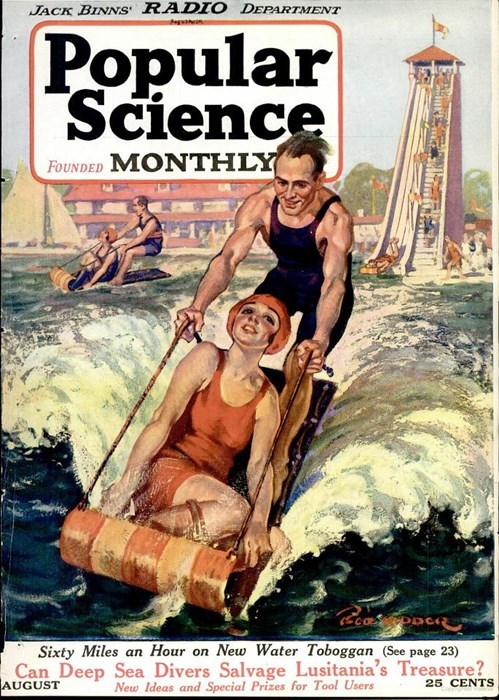 funny,science,vintage,toboggan,water
