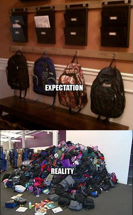 backpacks kids parenting mess expectation vs. reality
