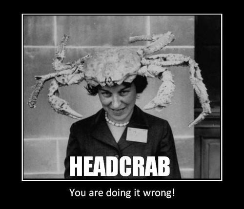 scary head crab wtf hat funny vintage - 8002315520