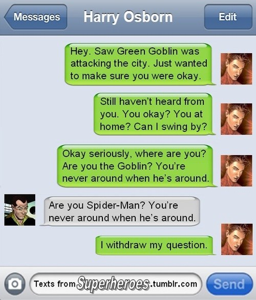 text message,harry osborn,green goblin,Spider-Man
