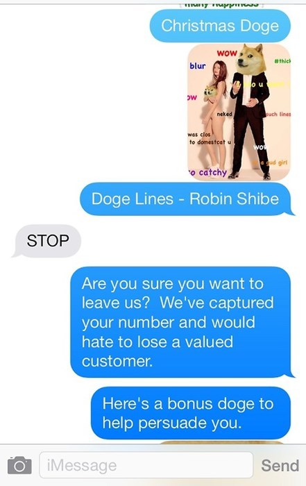 Text - Christmas Doge wow #thic blur o u ow such lines neked was clos to domestcat u WOt qud girl o catchy Doge Lines - Robin Shibe STOP Are you sure you want to leave us? We've captured your number and would hate to lose a valued customer. Here's a bonus doge to help persuade you. iMessage Send