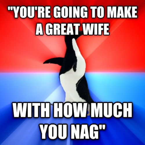 socially awesome/awkward penguin,marriage,wife