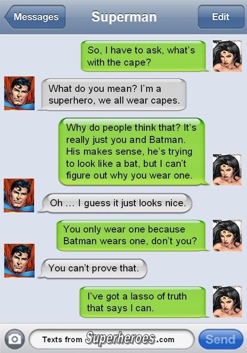 text message,wonder woman,batman,superman
