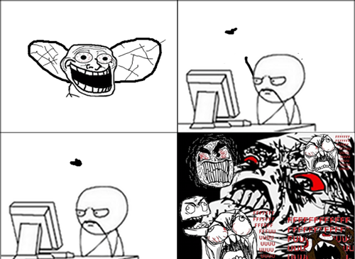 rage,trollface,computer guy,flies