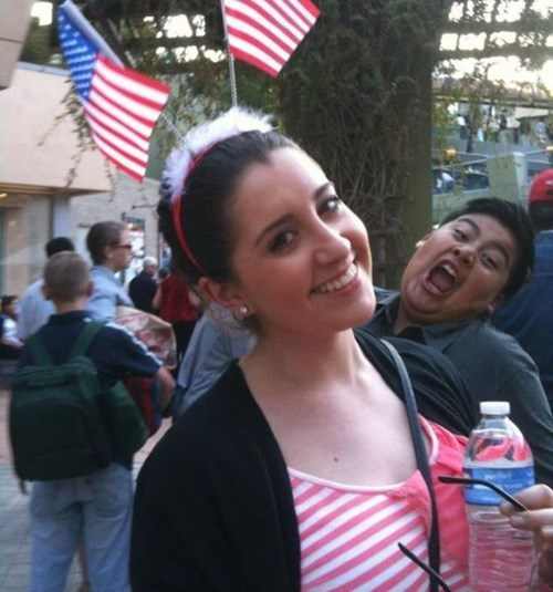 patriotic photobomb