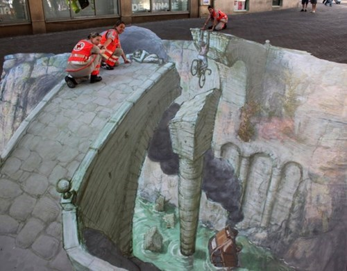 chalk art,perspective,illusion,Street Art,hacked irl