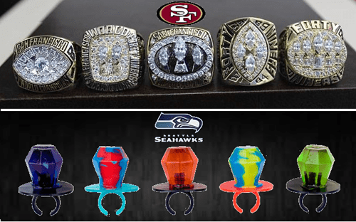 football nfl sports seattle seahawks ring pops san francisco 49ers - 8004045824