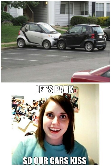 cars overly attached girlfriend parking - 8004482048