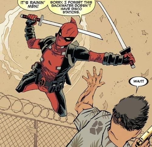 its-raining-men,disco,deadpool,off the page