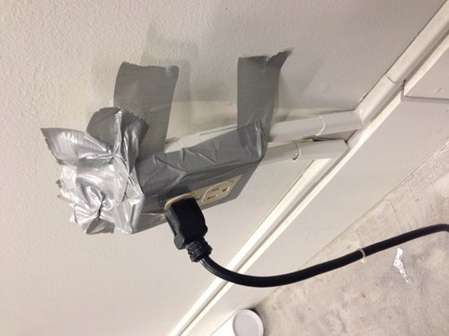duct tape,there I fixed it,electrical outlets