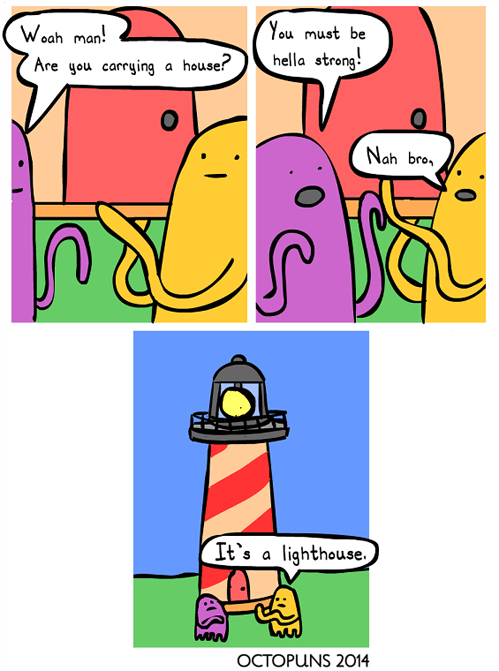lighthouse puns octopus web comics - 8005843968