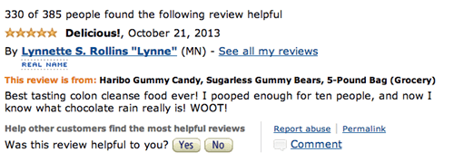 Amazon gummy bear review of Haribo Sugarless - 5 stars.