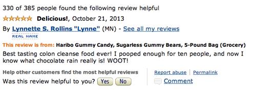 Amazon gummy bear review of Haribo Sugarless - 5 stars.