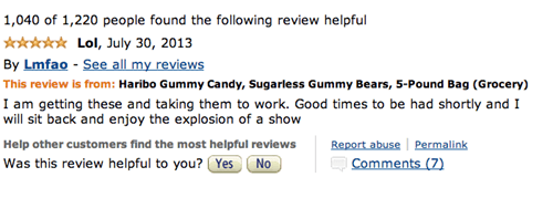 Funny Amazon review for Haribo Sugarless Gummy Bears which cause diarrhea.