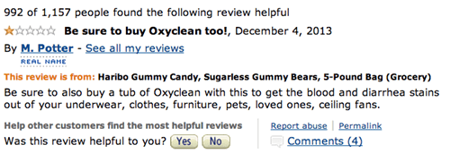 Funny 1-star Amazon review of Haribo Sugarless Gummy Bears recommending to also but some cleaning supplies to get the diarrhea stains out of everything.