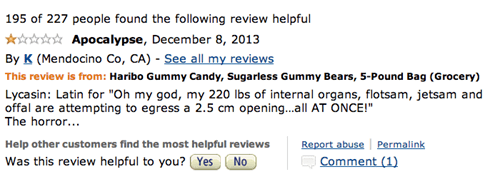 Funny 1-star review on Amazon for Haribo Gummy Bears shooting out your internal organs.